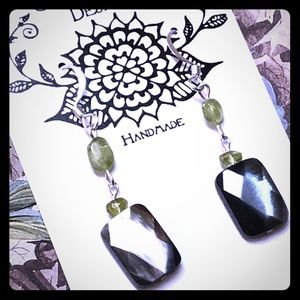 Black Mother of Pearl & Peridot Earrings